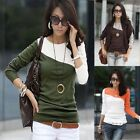 Fashion Women Long Sleeve Splice Color Crew Neck Cotten T-Shirt Tops Blouse Tee