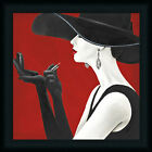 Haute Chapeau Rouge II Glamorous Woman Red Lipstick Framed Art Print Wall