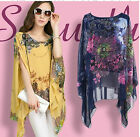 CASUAL WOMEN CHIFFON OVERSIZE TOP WATERFALL KIMONO SHIRT CAPE PLUS SIZE