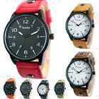 SH US NEW Mens Quartz Wrist Watches Waterproof Analog Casual Faux Leather Band