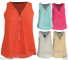 Womens Ladies Sheer Crop Chiffon Double Layered Front High Back T-Shirt Vest Top