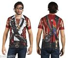 *Deluxe Mens Caribbean Buccaneer Pirate Fancy Dress Costume T-Shirt with Parrot*