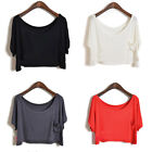 Casual Womens Short Batwing Sleeve T-Shirt Blouse Crop Tops Cropped 9 Colors M64