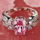 Bridal Pink White Topaz Gemstone Silver Jewelry Women Ring Size 6 7 8 9 10 11