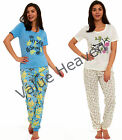 Ladies Jersey Cotton Pyjamas Tie Waist T-Shirt Floral Cuffed Bottoms Blue Cream