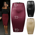 AP13 Womens Ladies Celeb Inspired SnakeSkin Textured Midi Bodycon Pencil Skirt