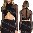 May&Maya Mesh Long Sleeve Halter-style Wrap Front Crop Top Shirt Tee Blouse