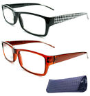 Designer Plastic Square Houndstooth Pattern Men Women Reading Glasses Free Pouch