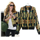 New Women Long Sleeve Stand Collar Zipper Floral Printed Bomber Jacket GFY