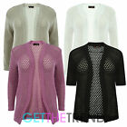 LADIES WOMENS KNITTED MESH KNIT OPEN FRONT LONG SLEEVES CARDI CARDIGAN SHRUG