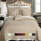 Luxury Checkered Quilted Wrinkle Free Coverlet, Bedspread Set, Reversible Quilt  image