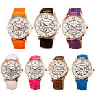 Fashion PU Leather Strap Quartz Diamond Dial Ladies Fashion Watch