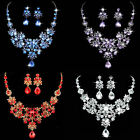 Wedding Bridal Party Jewelry Sets Crystal Rhinestone Pendant Necklace & Earrings