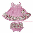 Baby Girl Pink Romantic Rose Peony Flower Swing Top Bloomer Outfit Set NB-2Year