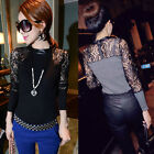 1PC Women O-Neck Long Sleeve Blouse Knitwear Shirt Sexy Lace Party Club Wear Top