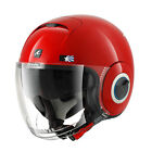 SHARK NANO UNITED RED WHITE MOTORCYCLE OPEN FACE SCOOTER HELMET + SUNVISOR