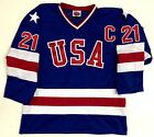 MIKE ERUZIONE TEAM USA BLUE HOCKEY JERSEY 1980 GOLD MEDAL