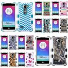 For LG Leon TUFF Hybrid Hard Soft Case Skin Cover Butterfly Dancing/Hot Pink