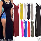 Women Ladies Sleeveless Stretch Both Side Split Scoop Neck Long Maxi Dress Top