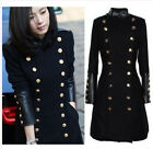 Womens Wool Blend Double Breasted Long Slim Fit Jackets Military Trench Coats