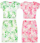 Girls Neon Floral Crop Top And Skirt Set Kids Outfit New Age 7 - 13 Years