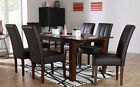 Java & Carrick Extending Dark Wood Dining Table & 4 6 Leather Chairs Set (Brown)