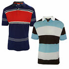Mens Polo Shirt Kensington Eastside Contrast Striped Short Sleeve Tee Pique Top