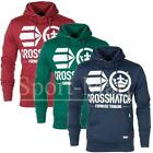 Mens Crosshatch Funnel Neck Pull Over Hooded Printed Top Sweatshirt Hoody Size