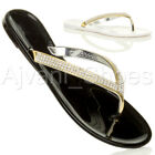 WOMENS LADIES FLAT GOLD DIAMANTE JELLY RUBBER SUMMER FLIP FLOPS SANDALS SIZE