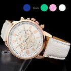 Roman Numerals Faux Leather Analog Wrist Watch Colorful Quartz Fashion Women's