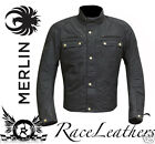MERLIN MENS BLACK WAX COTTON SANDON ARMOURED MOTORCYCLE MOTORBIKE BIKE JACKET