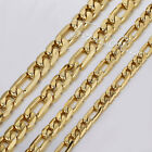 6/7/8/9mm MENS Chain Gold Tone Hammered Figaro Stainless Steel Necklace18-36''