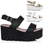 WOMENS CLEATED SOLE FLATFORM PLATFORM LEATHER STYLE SANDAL SHOES SIZE 3 - 8