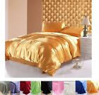 New Soft Satin Duvet Cover With 2 Pillowcases Bedding Set  14 Colors