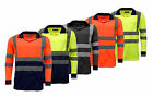 Hi Vis Hi Viz High Visibility Long Sleeve Safety Work Polo T Shirt Top EN471
