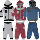 Boys Contrast Cuff Shoulder Patch Toddlers Babies Full Zip Tracksuit Girls Size