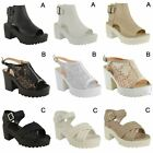 LADIES WOMENS CHUNKY SANDALS PLATFORMS BLOCK HEEL SUMMER SHOES ANKLE STRAP SIZE