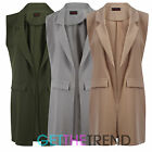 WOMENS SLEEVELESS COLLAR COAT LADIES CREPE DUSTER WAISTCOAT GILET CAPE JACKET