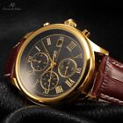 Luxury KS Crystal Case Automatic Mechanical Leather Mens Sport Watch +Bookmark