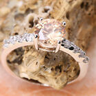 Circular Brown Morganite GEMSTONES Silver Jewelry Ring Size6 /7 /8 /9 T7940