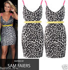 New Womens Celeb Inspired Leopard Print Cut Out Neon Bodycon Mini Dress UK 8-14