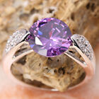 CLASSIC Purple Amethyst GEMSTONES Silver Jewelry Ring Size6 /7 /8 /9 T1128