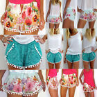 Womens Pom Pom High Waisted Tassel Tribal Print Beach Casual Shorts Hot Pants