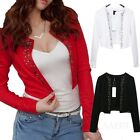 Crop Casual Elegant Ladies Vintage Office Womens Cardigan US sz 0-6