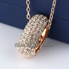 Fashion Rhinestone Ring Necklace Pendant 18KGP Crystal Gold Plated