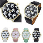 Girl Women Geneva Elephant Pattern Leather Band Analog Quartz Dial Wrist Watch