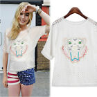 Summer Ladys White Animal Print Cotton Short Sleeve T-Shirt Blouses Tops S-XL