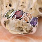Oval Multi-Color GEMSTONES Silver Jewelry Ring Size6 /7 /8 /9 T7020