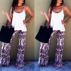 Retro Womens Summer Casual Stretch Wide Leg Long Pants Bohemian Loose Trousers