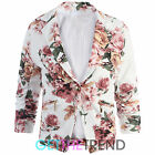 Womens Floral Short Cropped Blazer Jacket Ladies Buttoned 3/4 Sleeves Smart Coat